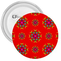 Rainbow Colors Geometric Circles Seamless Pattern On Red Background 3  Buttons