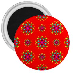 Rainbow Colors Geometric Circles Seamless Pattern On Red Background 3  Magnets