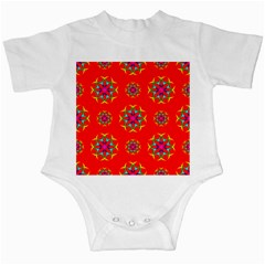 Rainbow Colors Geometric Circles Seamless Pattern On Red Background Infant Creepers