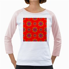 Rainbow Colors Geometric Circles Seamless Pattern On Red Background Girly Raglans