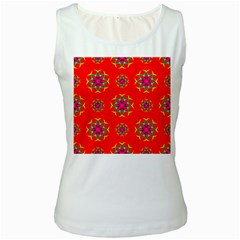 Rainbow Colors Geometric Circles Seamless Pattern On Red Background Women s White Tank Top