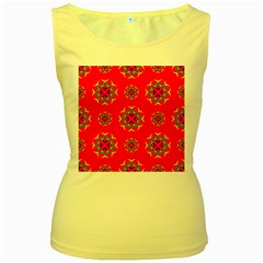 Rainbow Colors Geometric Circles Seamless Pattern On Red Background Women s Yellow Tank Top