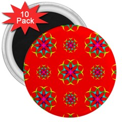 Rainbow Colors Geometric Circles Seamless Pattern On Red Background 3  Magnets (10 Pack)