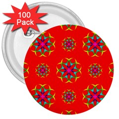 Rainbow Colors Geometric Circles Seamless Pattern On Red Background 3  Buttons (100 Pack)