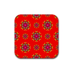 Rainbow Colors Geometric Circles Seamless Pattern On Red Background Rubber Square Coaster (4 pack)