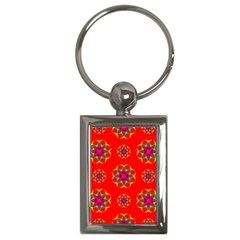 Rainbow Colors Geometric Circles Seamless Pattern On Red Background Key Chains (Rectangle)