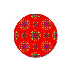 Rainbow Colors Geometric Circles Seamless Pattern On Red Background Rubber Coaster (round)