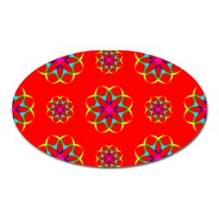 Rainbow Colors Geometric Circles Seamless Pattern On Red Background Oval Magnet
