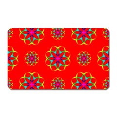 Rainbow Colors Geometric Circles Seamless Pattern On Red Background Magnet (Rectangular)