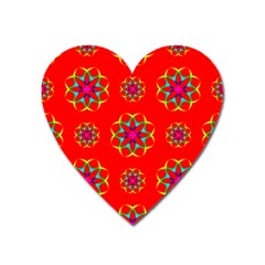 Rainbow Colors Geometric Circles Seamless Pattern On Red Background Heart Magnet