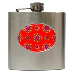 Rainbow Colors Geometric Circles Seamless Pattern On Red Background Hip Flask (6 Oz)