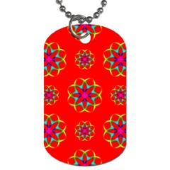 Rainbow Colors Geometric Circles Seamless Pattern On Red Background Dog Tag (Two Sides)