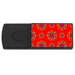 Rainbow Colors Geometric Circles Seamless Pattern On Red Background USB Flash Drive Rectangular (1 GB)