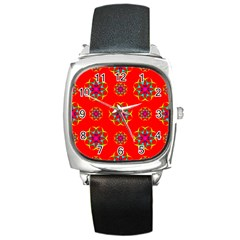 Rainbow Colors Geometric Circles Seamless Pattern On Red Background Square Metal Watch