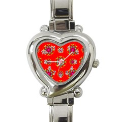 Rainbow Colors Geometric Circles Seamless Pattern On Red Background Heart Italian Charm Watch