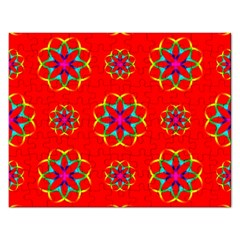 Rainbow Colors Geometric Circles Seamless Pattern On Red Background Rectangular Jigsaw Puzzl