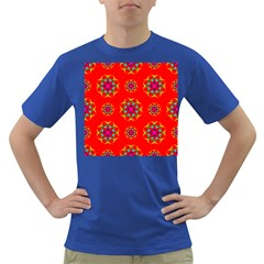 Rainbow Colors Geometric Circles Seamless Pattern On Red Background Dark T-Shirt