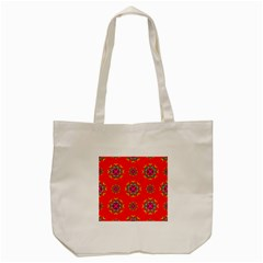 Rainbow Colors Geometric Circles Seamless Pattern On Red Background Tote Bag (Cream)