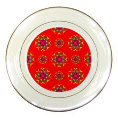 Rainbow Colors Geometric Circles Seamless Pattern On Red Background Porcelain Plates