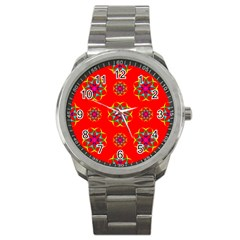 Rainbow Colors Geometric Circles Seamless Pattern On Red Background Sport Metal Watch