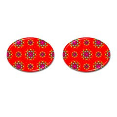 Rainbow Colors Geometric Circles Seamless Pattern On Red Background Cufflinks (oval)