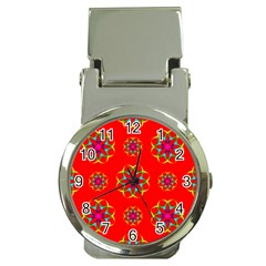 Rainbow Colors Geometric Circles Seamless Pattern On Red Background Money Clip Watches