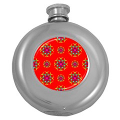 Rainbow Colors Geometric Circles Seamless Pattern On Red Background Round Hip Flask (5 oz)
