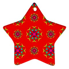 Rainbow Colors Geometric Circles Seamless Pattern On Red Background Star Ornament (Two Sides)