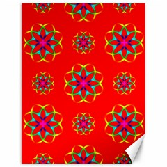 Rainbow Colors Geometric Circles Seamless Pattern On Red Background Canvas 12  x 16