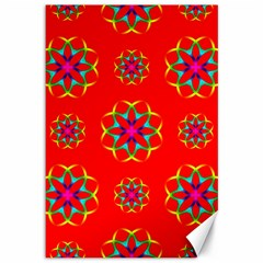 Rainbow Colors Geometric Circles Seamless Pattern On Red Background Canvas 12  x 18