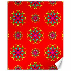 Rainbow Colors Geometric Circles Seamless Pattern On Red Background Canvas 16  x 20