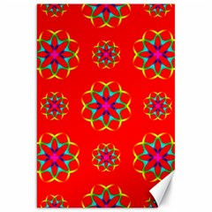 Rainbow Colors Geometric Circles Seamless Pattern On Red Background Canvas 20  x 30