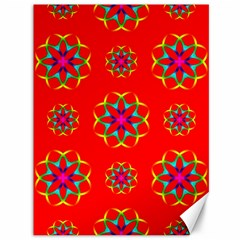 Rainbow Colors Geometric Circles Seamless Pattern On Red Background Canvas 36  X 48