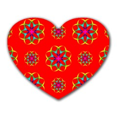 Rainbow Colors Geometric Circles Seamless Pattern On Red Background Heart Mousepads