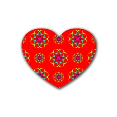Rainbow Colors Geometric Circles Seamless Pattern On Red Background Rubber Coaster (Heart)
