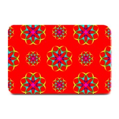 Rainbow Colors Geometric Circles Seamless Pattern On Red Background Plate Mats