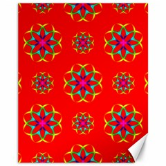Rainbow Colors Geometric Circles Seamless Pattern On Red Background Canvas 11  x 14