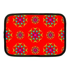 Rainbow Colors Geometric Circles Seamless Pattern On Red Background Netbook Case (medium)