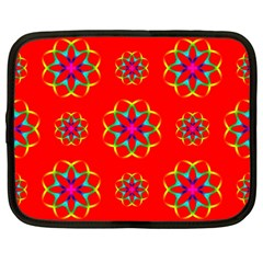 Rainbow Colors Geometric Circles Seamless Pattern On Red Background Netbook Case (Large)