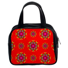 Rainbow Colors Geometric Circles Seamless Pattern On Red Background Classic Handbags (2 Sides)