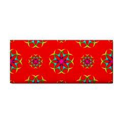 Rainbow Colors Geometric Circles Seamless Pattern On Red Background Cosmetic Storage Cases