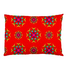 Rainbow Colors Geometric Circles Seamless Pattern On Red Background Pillow Case