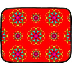 Rainbow Colors Geometric Circles Seamless Pattern On Red Background Double Sided Fleece Blanket (Mini)