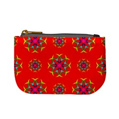 Rainbow Colors Geometric Circles Seamless Pattern On Red Background Mini Coin Purses