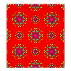 Rainbow Colors Geometric Circles Seamless Pattern On Red Background Shower Curtain 66  X 72  (large)