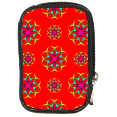 Rainbow Colors Geometric Circles Seamless Pattern On Red Background Compact Camera Cases