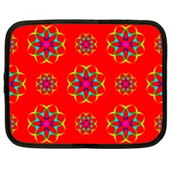 Rainbow Colors Geometric Circles Seamless Pattern On Red Background Netbook Case (XXL)