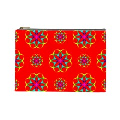 Rainbow Colors Geometric Circles Seamless Pattern On Red Background Cosmetic Bag (Large)