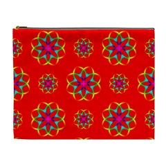 Rainbow Colors Geometric Circles Seamless Pattern On Red Background Cosmetic Bag (XL)