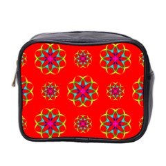 Rainbow Colors Geometric Circles Seamless Pattern On Red Background Mini Toiletries Bag 2-Side